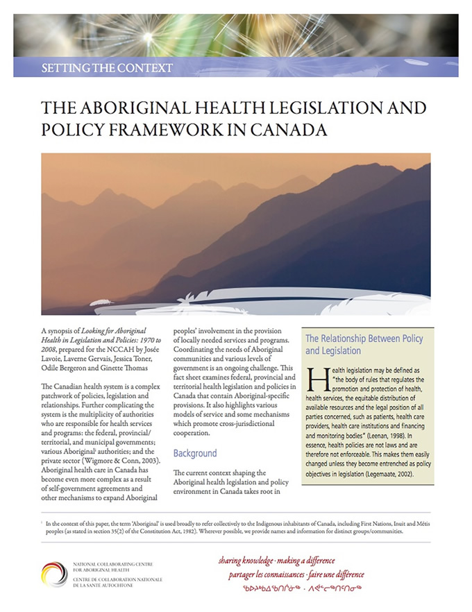 aboriginal health canada essay Archived: the human face of mental health and mental illness in canada 2006: minister's message statistics canada aboriginal peoples of canada:.