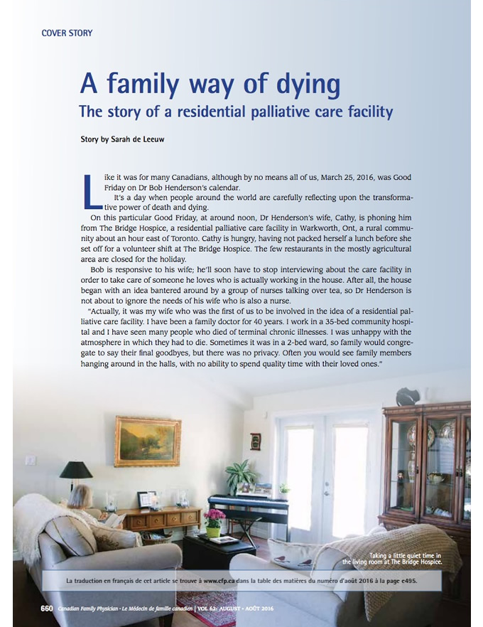 A family way of dying: The story of a residential palliative care facility