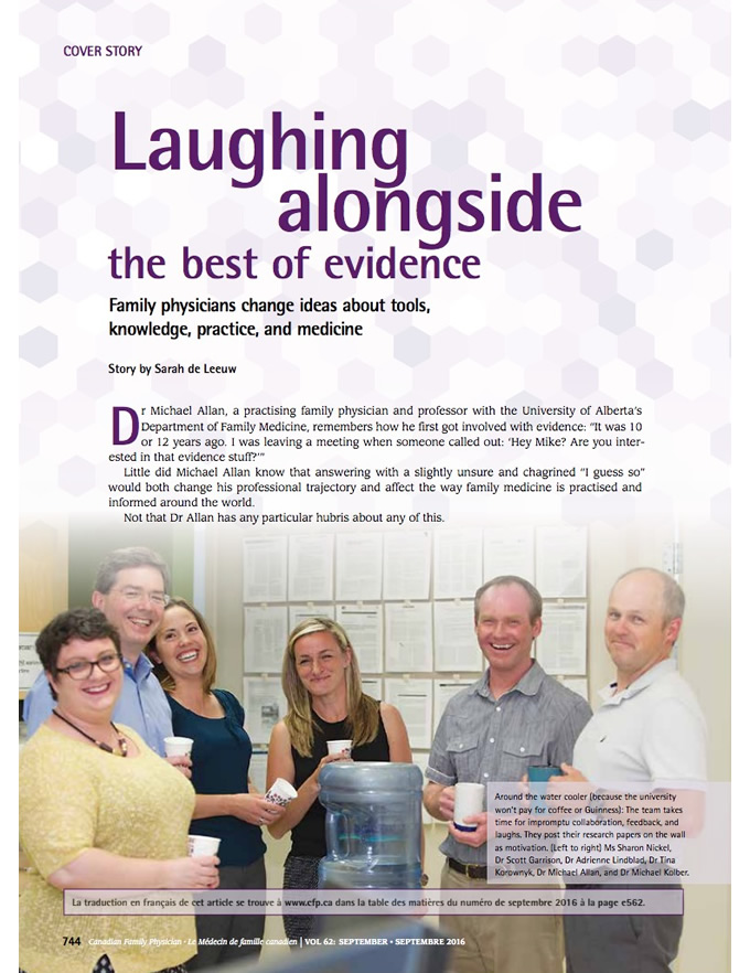 Laughing alongside the best of evidence: Family physicians change ideas about tools, knowledge, practice, and medicine