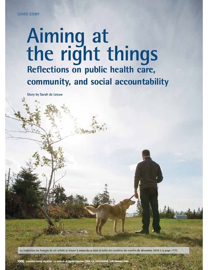 Aiming at the right things: Reflections on public health care, community, and social accountability